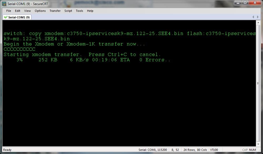Cisco 2950 ios upload using Xmodem - 30269 - The Cisco